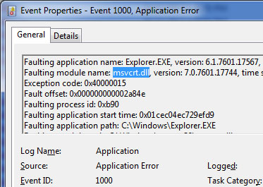 Event Viewer Application Error